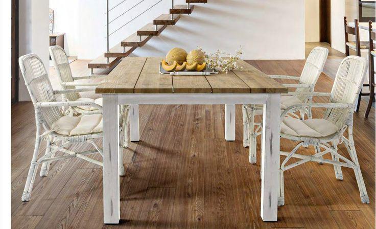 tavolo teak e zampe bianche, tavolo esterno, wooden table outdoor