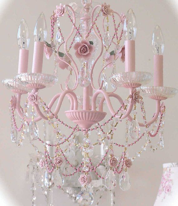 Pink Chandeliers | Vintage Pretty in Pink Crystal Chandelier - The Frog and the Princess
