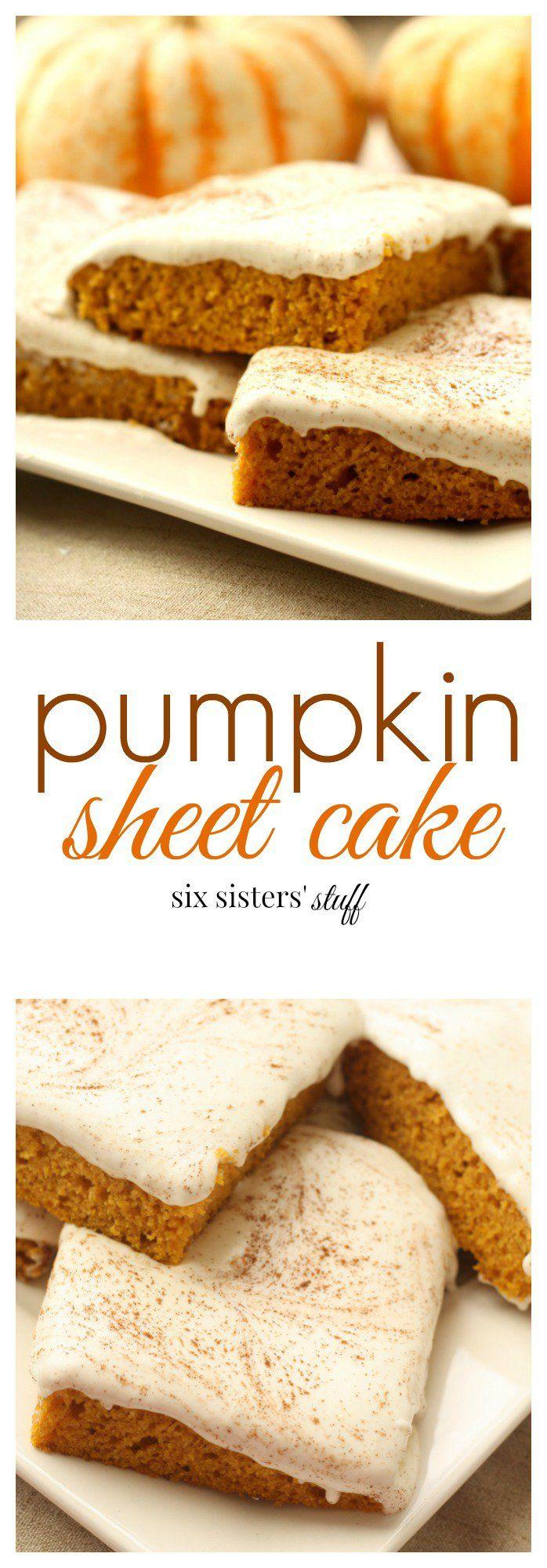 Pumpkin Sheet Cake from SixSistersStuff.com | The perfect homemade fall dessert!