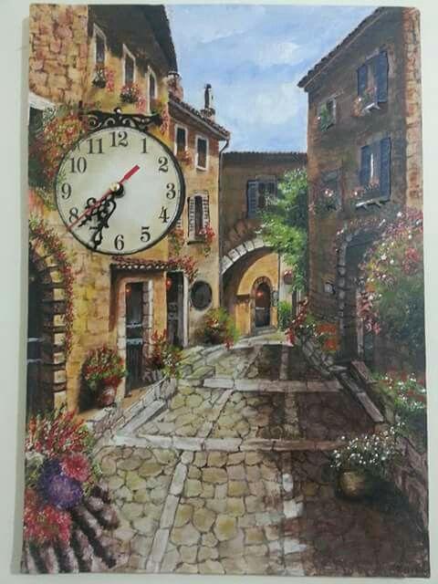 35*50 tuval akrilik boya  Sokak resmi saat çalışır durumda