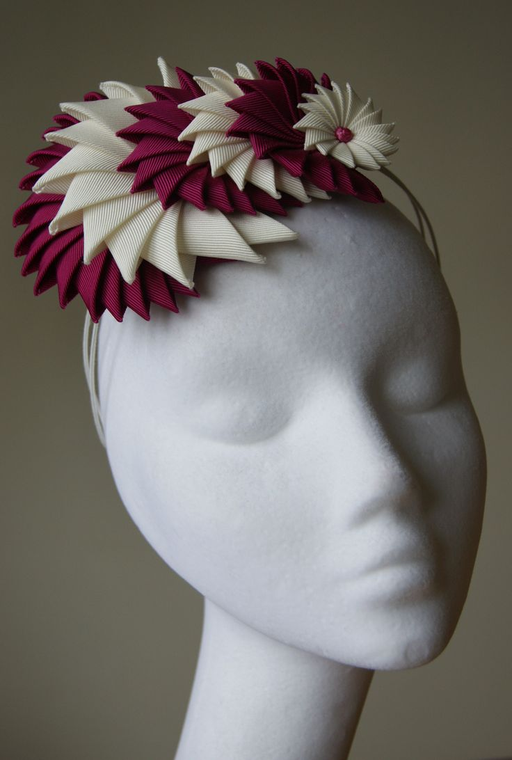 Beautifully made origami grosgrain ribbon headpiece from Esther Louise Millinery S/S 2014 collection