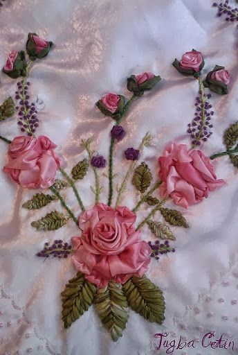 Satin Silk Ribbon Embroidery Craft Pink Roses