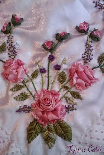Satin Silk Ribbon Embroidery Craft Pink Roses