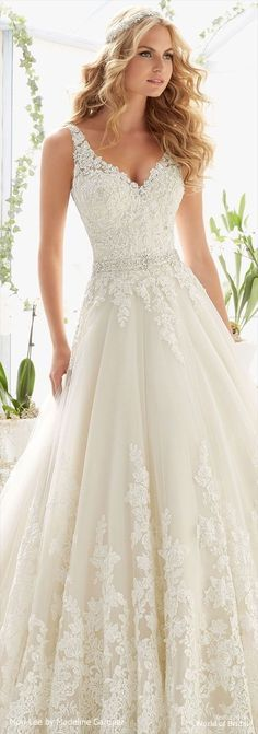 Classic Tulle Ball Gown with Crystal Beaded, Alencon Lace Appliques and Wide Scalloped Hemline
