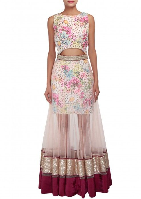 Multi coloured outfit embellished in sequins and digital print only on Kalki