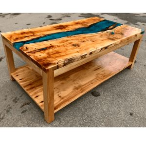 Yew Resin River Coffee Table with Shelf (SOLD)