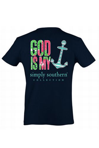 Simply Southern God Is My Anchor Shirt - Navy