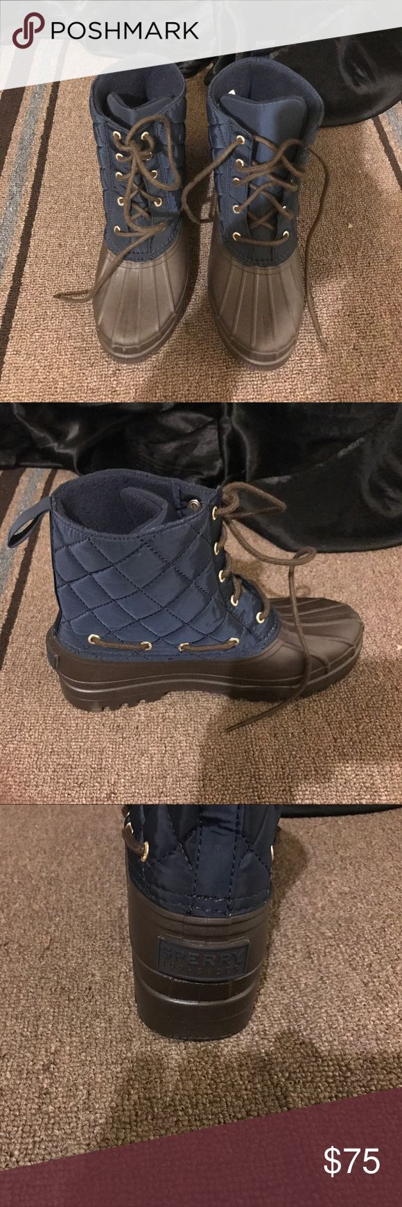 Sperry women's duck boots size 8 Brand new never worn Sperry duck boots size 8. Blue quilted top Brown rubber bottom Sperry Shoes Winter & Rain Boots