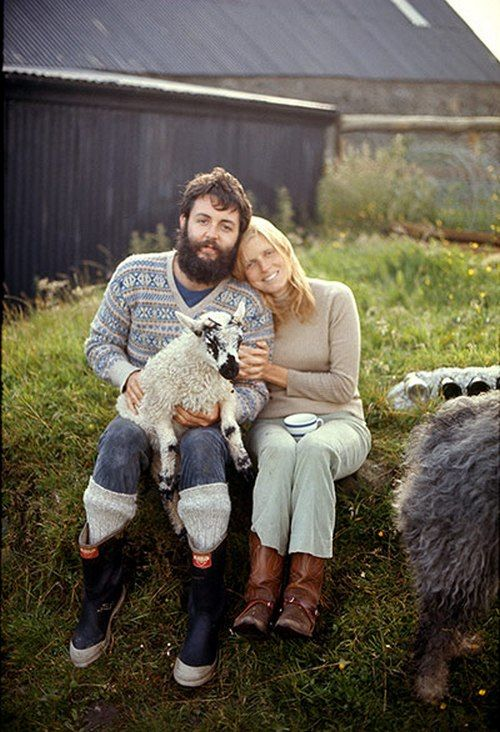 superseventies:    Paul and Linda McCartney with a lamb on their farm on the Kintyre peninsula, 1970.