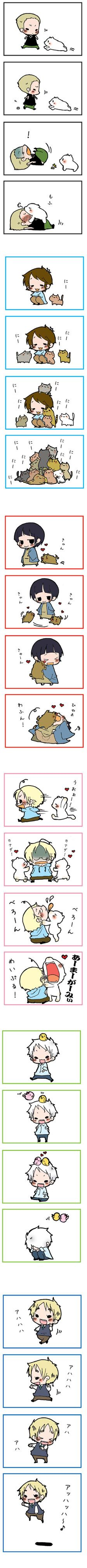 Hetalia characters' interactions with various animals (I think Ludwig's with Knut the polar bear, and Arthur's with flying mint bunny) - Art by Roomleader