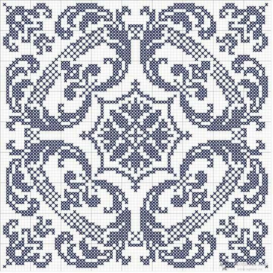 Filet cross stich blue square grid