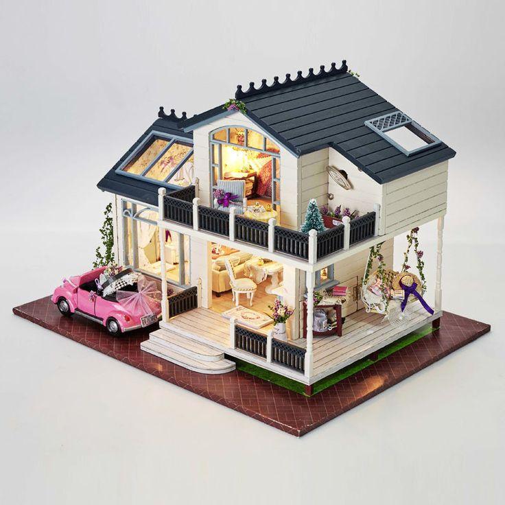 Сборка 3d diy миниатюрный комплект модель деревянная кукла дом романтический прованс дом с мебелью и кабриолет ребенок головоломки игрушки