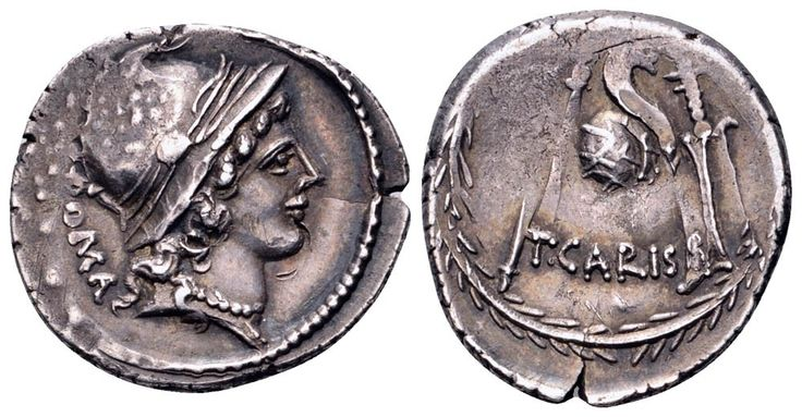 AR Denarius. Roman Republic, T.Carisius, Rome. 46 BC. 20mm, 3,72g, 3h. Crawford 464/3a. Near EF. Price realized (2.7.2016): 89 EUR.