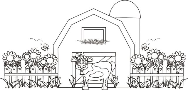 Barn With Cow & Silo Coloring Page