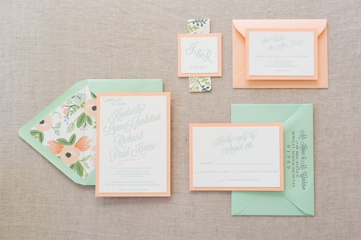 Peach and Mint mounted letterpress wedding invitation