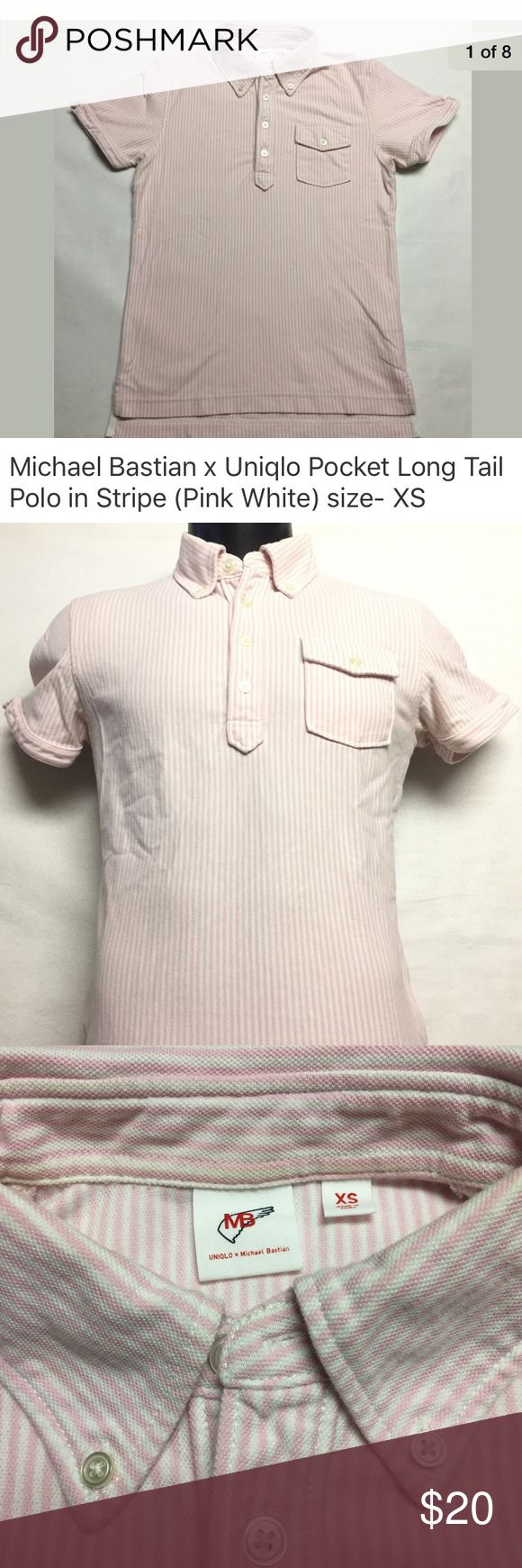 "MICHAEL BASTIAN x UNIQLO pocket stripe polo shirt MICHAEL BASTIAN x UNIQLO short sleeved long tail pocket pique polo shirt in Stripe (Pink & White).  Button down collar. Pictures are that of the actual shirt you will receive. NO rips, holes, stains or missing buttons. Laundered, clean and ready to ship.  Size on tag: XS (please compare measurements with a shirt that fits you well to ensure proper fit).  17"" from armpit to armpit 24"" from the shoulder to hem. Uniqlo x Michael Bastian Shirts…"