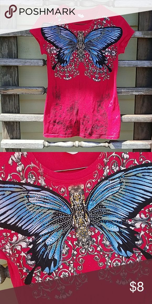 3 for $15 Red Embellished Butterfly Tee Size L Very cute! Red, embellished butterfly tee. All rhinestones intact, very good condition, size L  Tags: camo country girl southern girl western southwestern buckle miss me justin boots ariat almost famous jeans shorts new follow game sale boho festival summer sale denim shorts jeans skirt mini juniors womens aero aeropostale Tops Tees - Short Sleeve
