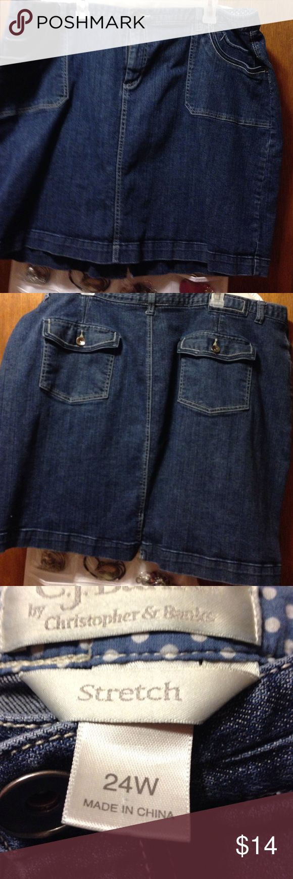 24W Jean mini skirt Excellent condition comfy cotton mini skirt. Very comfy machine washable. CJ Banks Skirts Mini