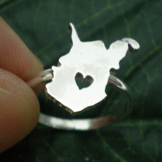 West Virgina WV State Ring with Heart Love  Any State by yhtanaff, $35.00