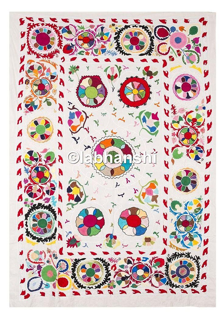 ouzbékistan coloré Suzani broderie Tapisserie de soie main Couvre-lit Vintage Parure de lit double tissu courtepointe Turquie Moyen-Orient ethnique Art décoratif Couvre-lit: Amazon.fr: Cuisine & Maison