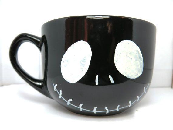 Jack Skellington big black coffee mug - hand painted mug, cute mug, cartoon mug, gift on Etsy, $14.72