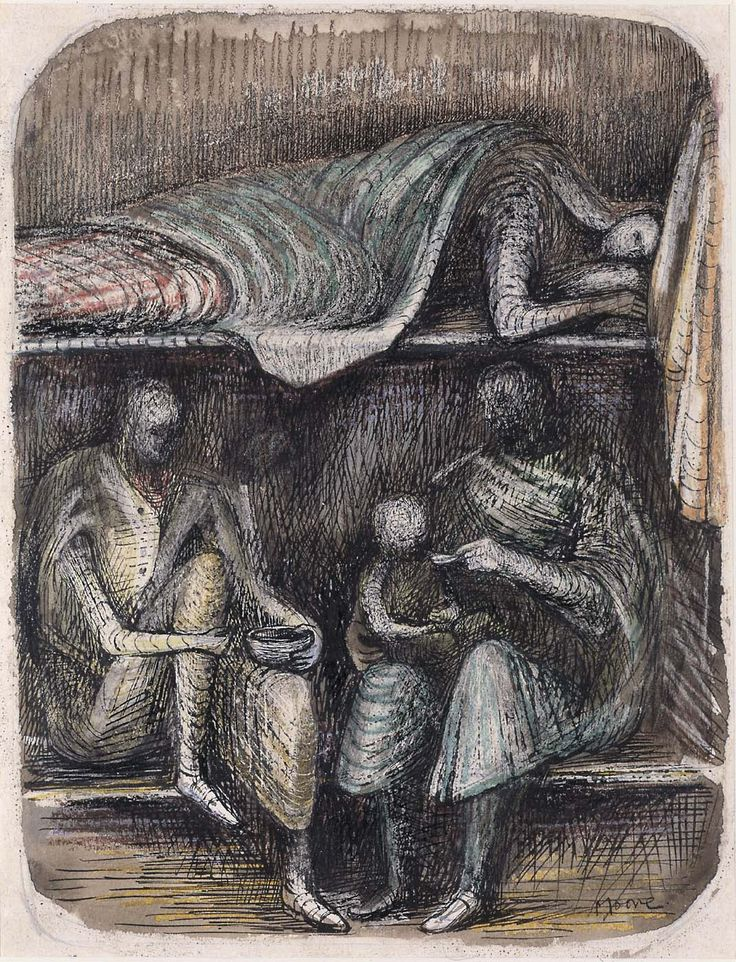 Henry Moore drawing from life studies during wwII in London underground during air raids