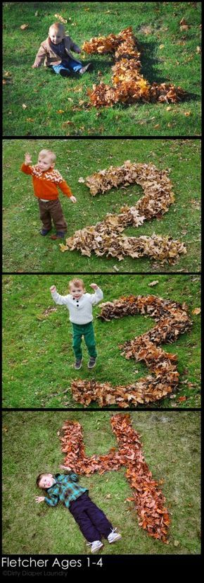 Leaf pile raked into child's age each year - I love this idea for my fall baby!
