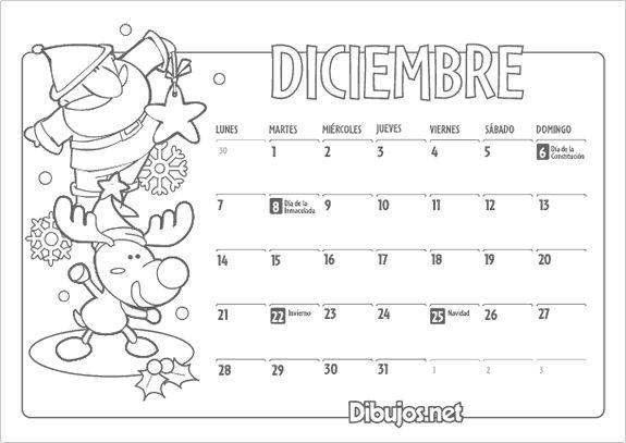 Calendario infantil Diciembre 2015-coloreable