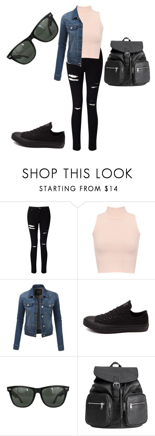 """""""Back to school outfit #4"""" by baconkat ❤ liked on Polyvore featuring Miss Selfridge, WearAll, LE3NO, Converse and Ray-Ban"""