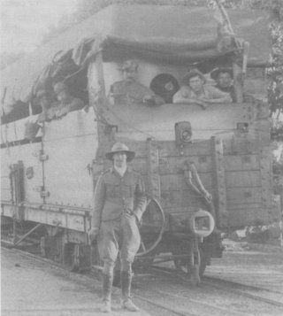 British armoured train manned by soldiers armed with a maxim machine gun.