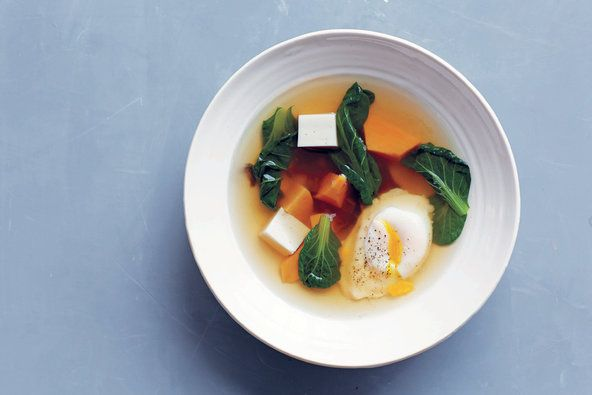 Dashi-poached sweet potatoes and greens.