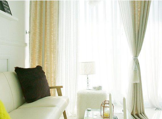 Ivory Tweed Curtains, Solid Curtains, Beige Curtains, Tweed Curtains, Curtain  Drapes,