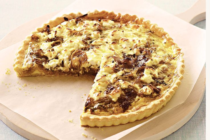 Crumbled+goats+cheese+is+a+decadent+base+for+caramelised+onion+in+this+classic+quiche.