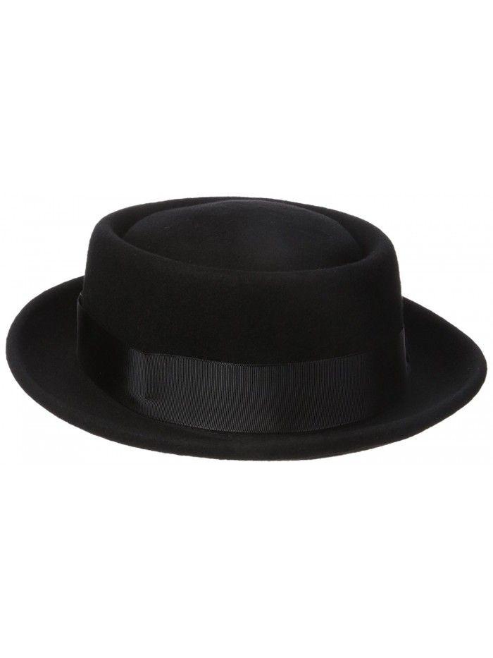 Men s 100% Wool Felt Porkpie Hat and Grosgrain Ribbon Band and Bow ... 6e3feb34412