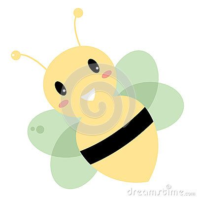 Beautiful  Bee  on white. Vector cartoon Illustration of Kids Bee. Can be usable for Schools and Kindergarten. Just original artistic Piece for fashion Moms and Kids.