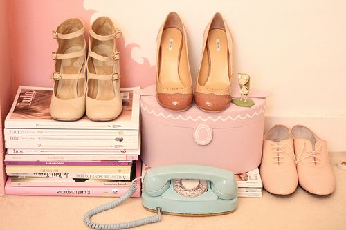 Schoenen in pastel kleuren