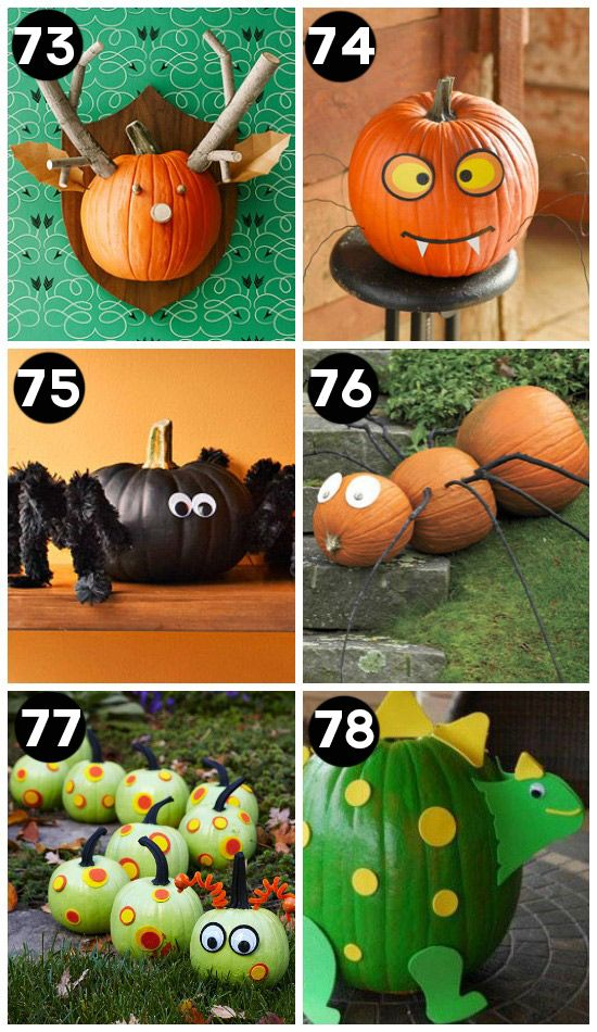 Pumpkin painting ideas- I LOVE #77.  It would be easy and fun to do with the kids.  Lots of good Halloween family fun ideas here.