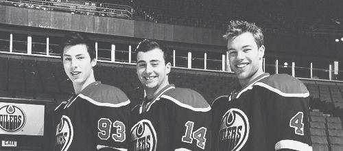 Ryan Nugent-Hopkins, Jordan Eberle, and Taylor Hall of the Edmonton Oilers
