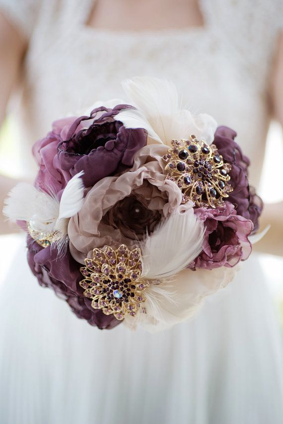 Custom Eggplant Brooch Bouquet, Fabric Flower Bouquet, Fabric Bouquet, Champagne…