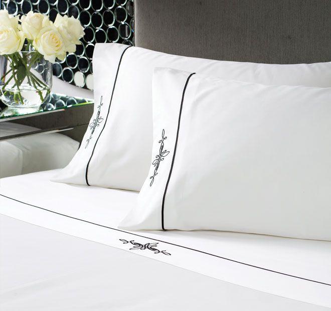 Linen House Boutique Belmont Sheet Set White and Black