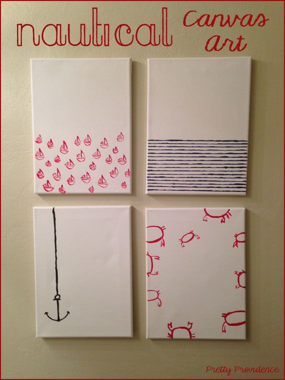 Nautical Canvas Art http://www.prettyprovidence.com/2013/04/nautical-canvas-art-diy.html