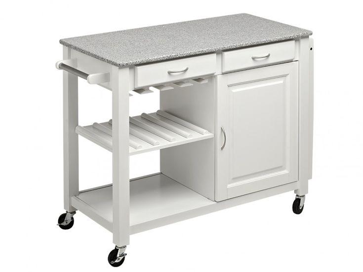 Küchenwagen Servierwagen Holz Owen - Weiß günstig