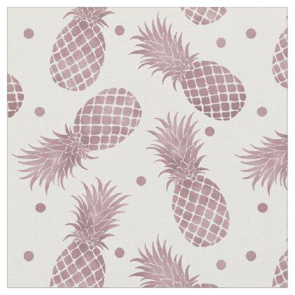 Rose Gold Pineapples Fabric - chic design idea diy elegant beautiful stylish modern exclusive trendy