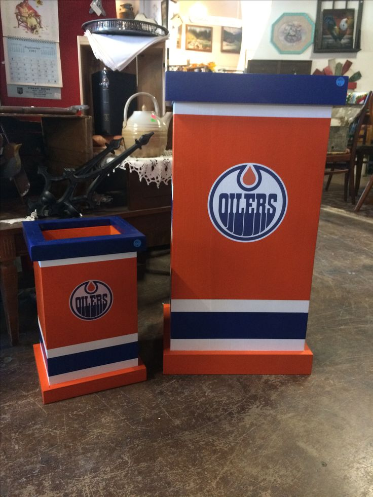 These amazing Oilers themed garbage cans/recycle bins are available to custom order. #tracystreasures02
