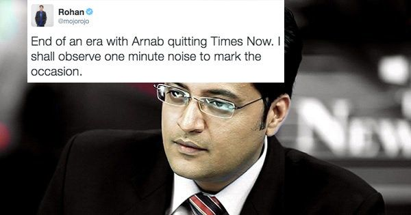 When Arnab Goswami announced that he was leaving Times Now. | 32 Moments That Brought The Indian Internet To A Screeching Halt In 2016