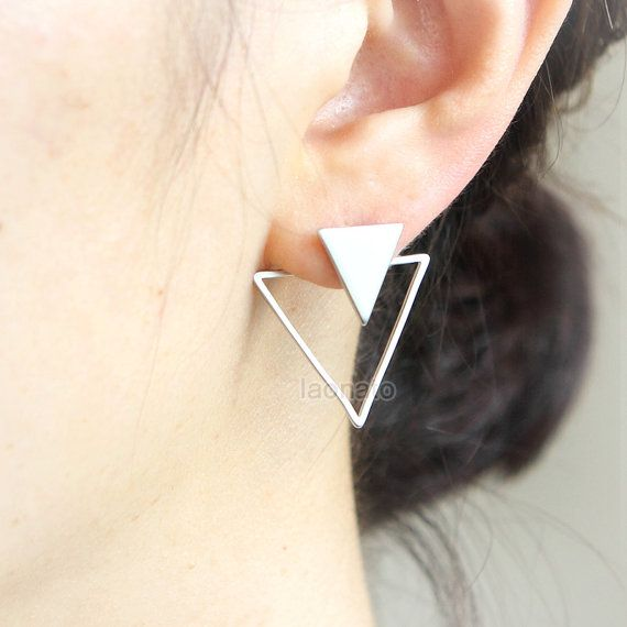Triangles Front back Earrings / ear jackets Choose your par laonato
