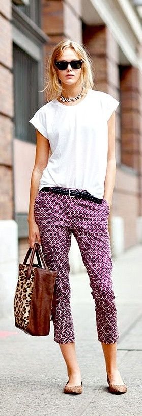 Curating Fashion & Style: Street style | White t-shirt, printed capri pants, belt, necklace, flats, animal print handbag