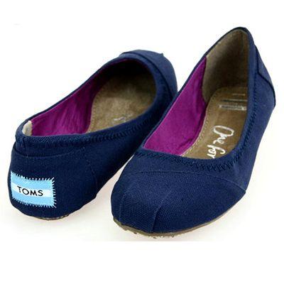 Toms Women Blue Canvas Ballet Flats