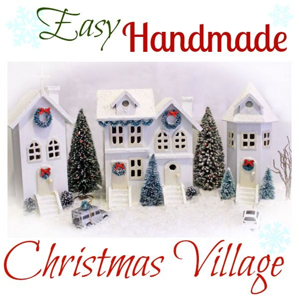 Easy Handmade Christmas Village from fynesdesigns.com. Making own bottle brush trees