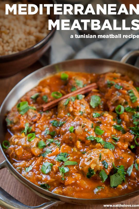 Mediterranean meatballs, a Tunisian meatball recipe. Photo and recipe by Irvin Lin of Eat the Love.